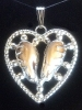 elk ivory sterling silver heart necklace