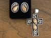 elk ivory sterling silver cross and earrings