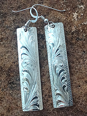 silver long earrings