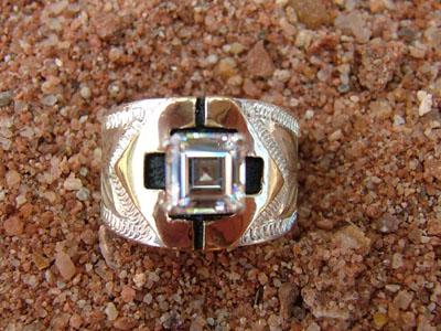 Fancy 14kt Gold and Sterling Silver Ring